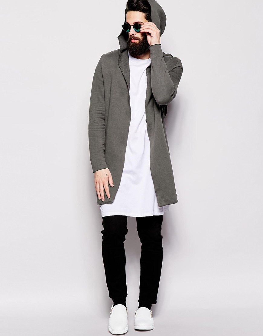Asos Super Longline Hooded Cardigan With Raw Edges In Sweat in ...