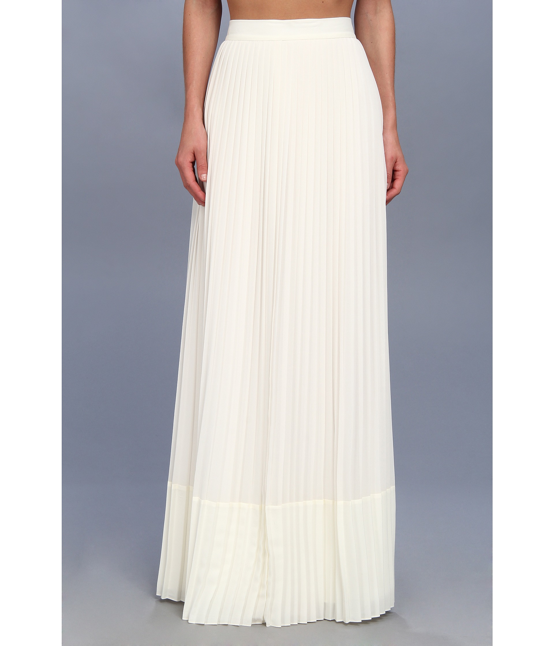 Badgley mischka Pleated Maxi Skirt in White | Lyst