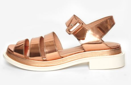 Robert Clergerie Corson Sandals In Gold Rose Gold Lyst