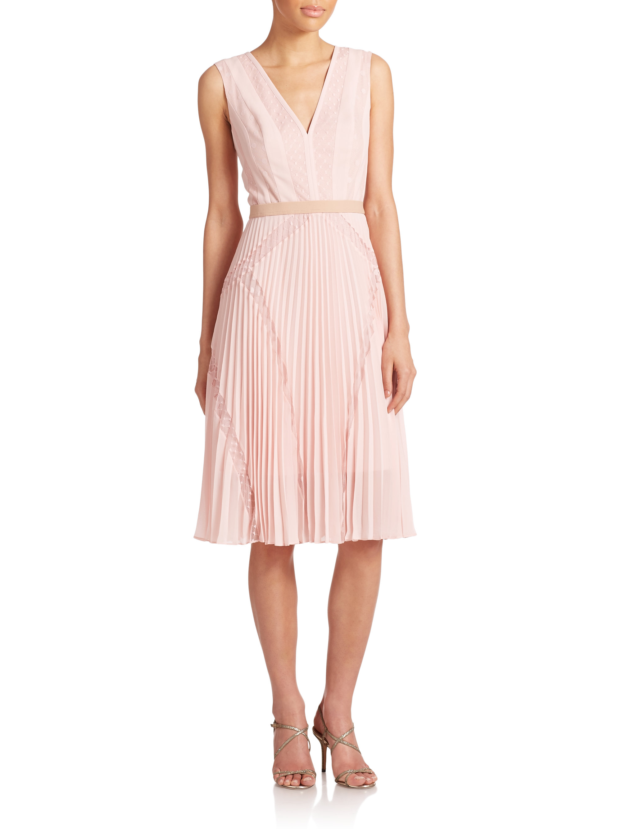 Bcbgmaxazria Rylee Lace Inset Dress In Pink Lyst