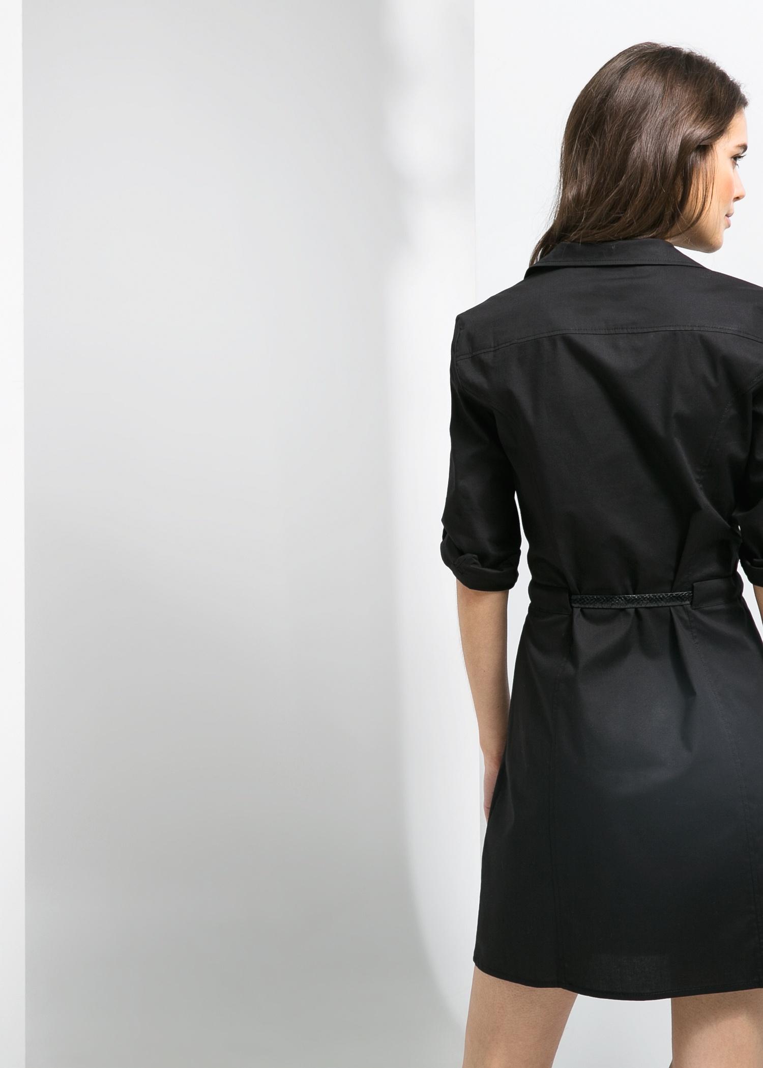 Lyst Mango Belted Waist Shirt Dress In Black
