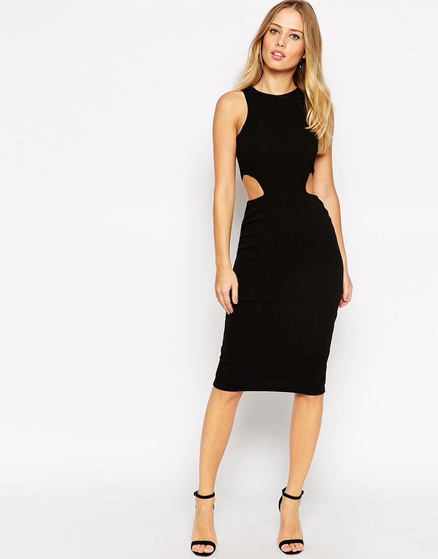 Asos High Neck Cut Out Side Bodycon Midi Dress In Black Lyst