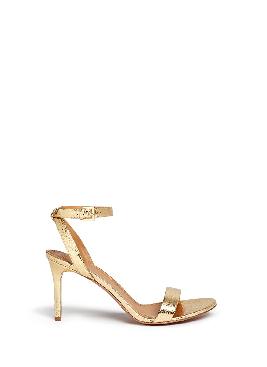 935c709d26eb Lyst - Tory Burch  elana  Metallic Crackled Leather Sandals in Metallic