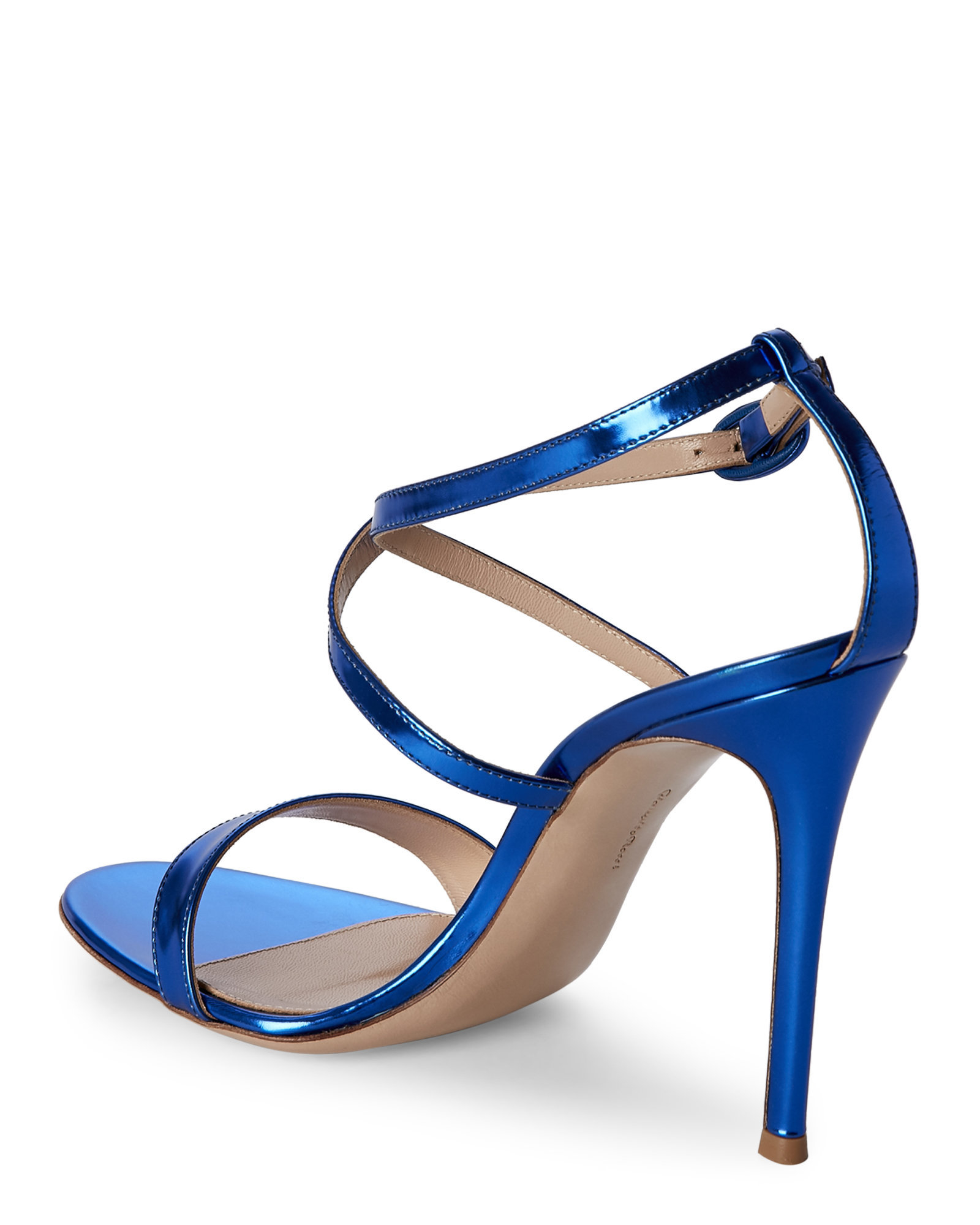 Lyst Gianvito Rossi Metallic Cobalt Strappy Sandals In Blue