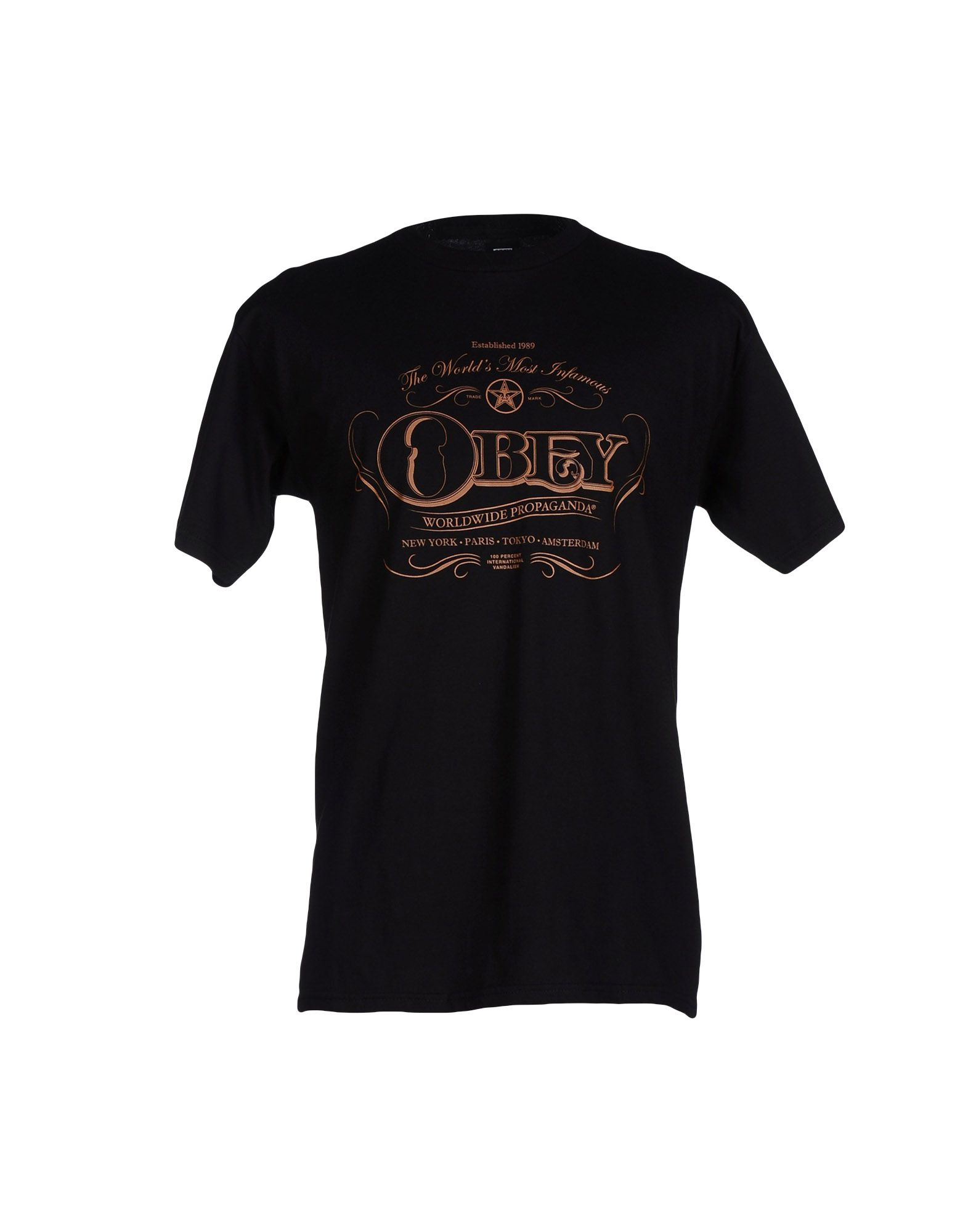 Obey t shirt in black for men lyst for Black obey t shirt