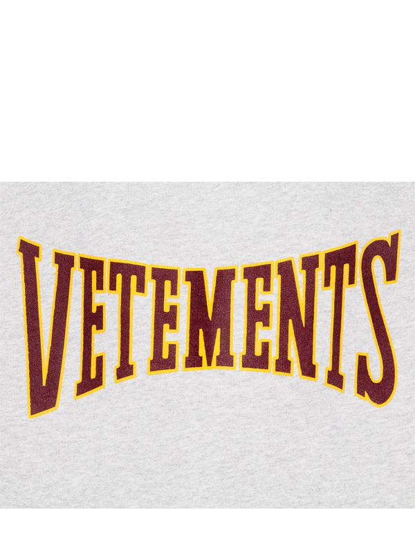 Vetements Logo Hooded Cotton Jersey Sweatshirt In Gray Lyst