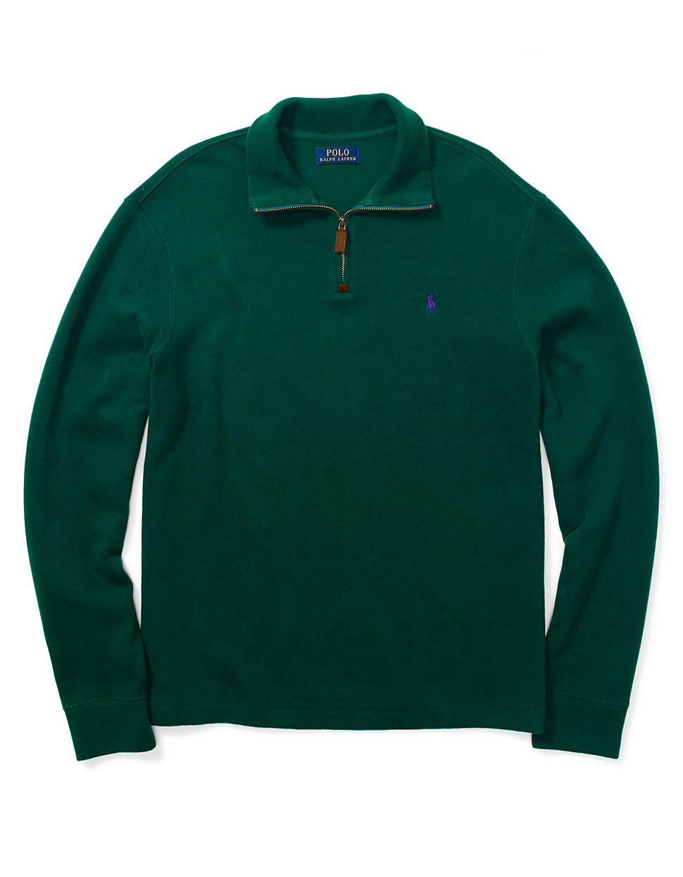 polo ralph lauren french rib half zip pullover in green for men lyst. Black Bedroom Furniture Sets. Home Design Ideas