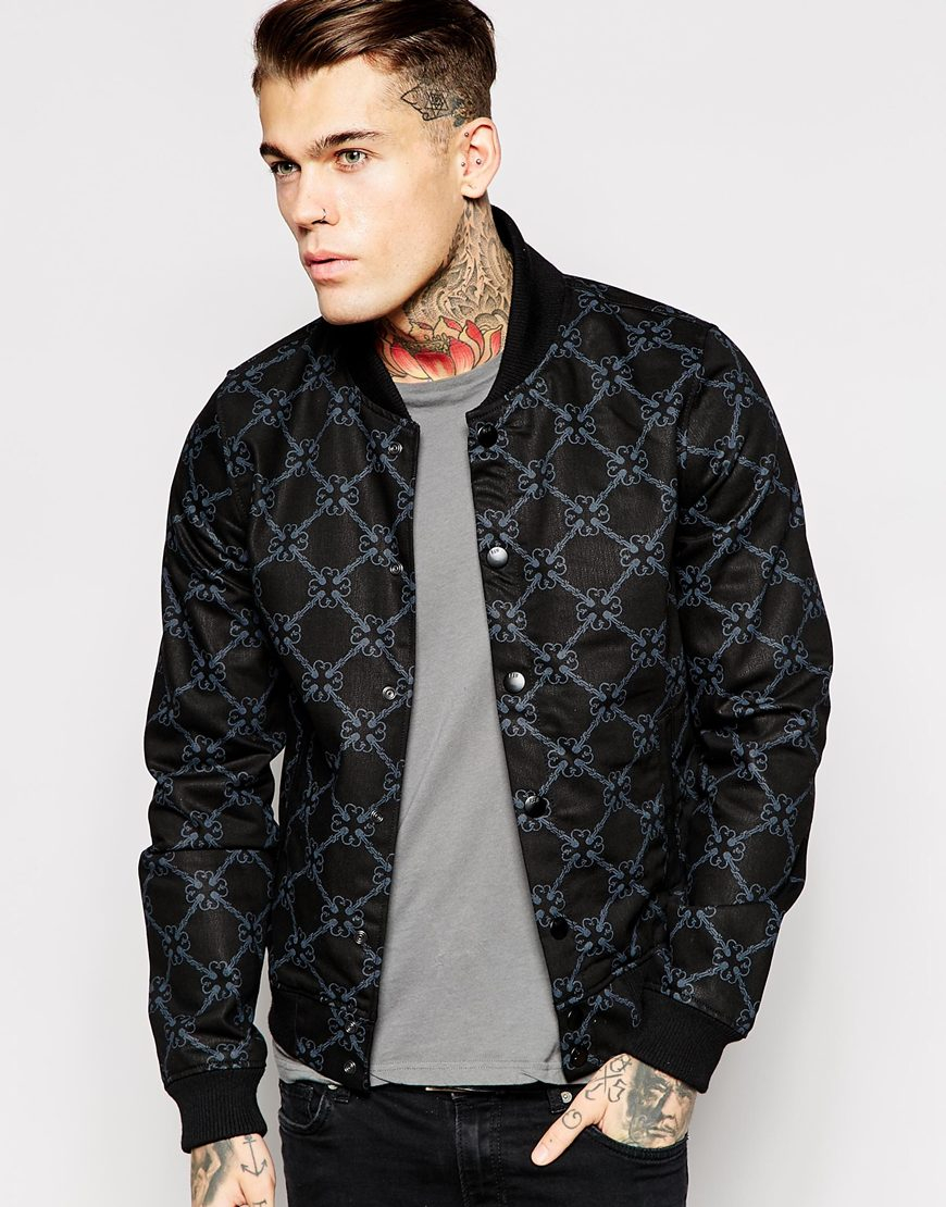 g star raw g star raw for the oceans fallden bomber jacket black all over print in black for men. Black Bedroom Furniture Sets. Home Design Ideas