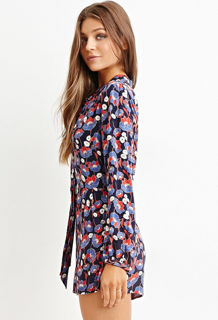 c381549f3574 Lyst - Forever 21 Floral Self-tie Romper in Blue