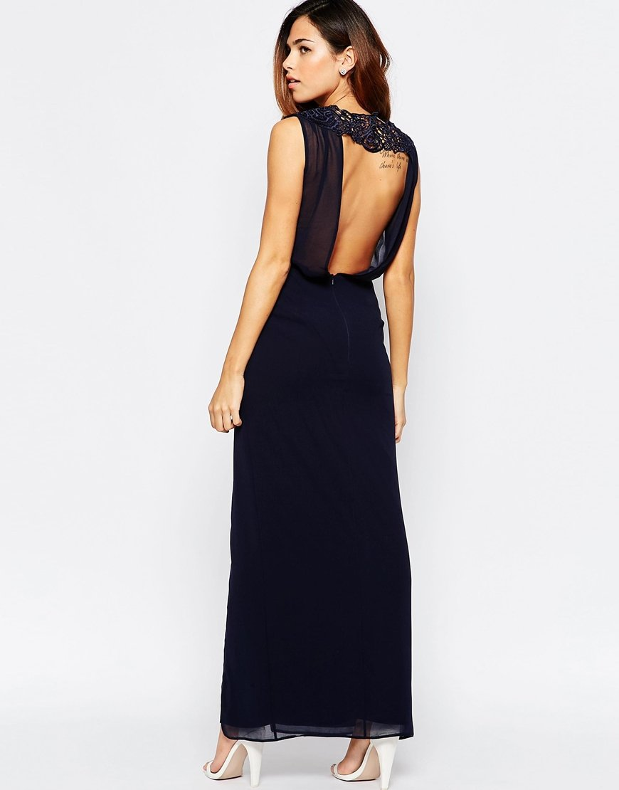 Elise ryan Open Back Sleeveless Maxi Dress With Lace Trim And ...