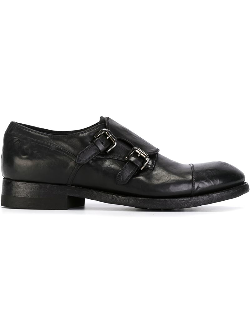 silvano sassetti distressed monk shoes in black for