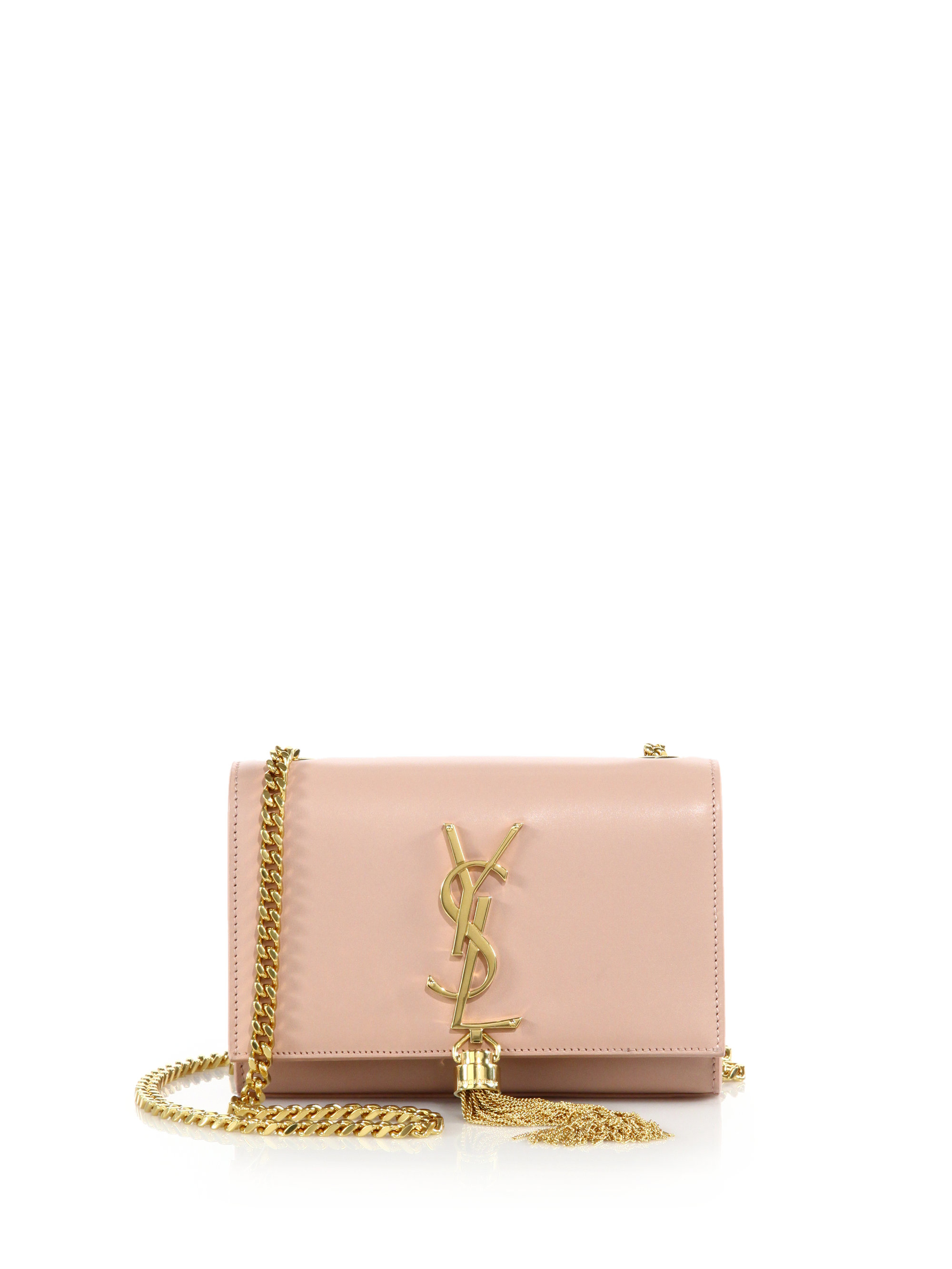 Saint laurent Monogram Small Tassel Chain Bag in Pink (pale rose ...