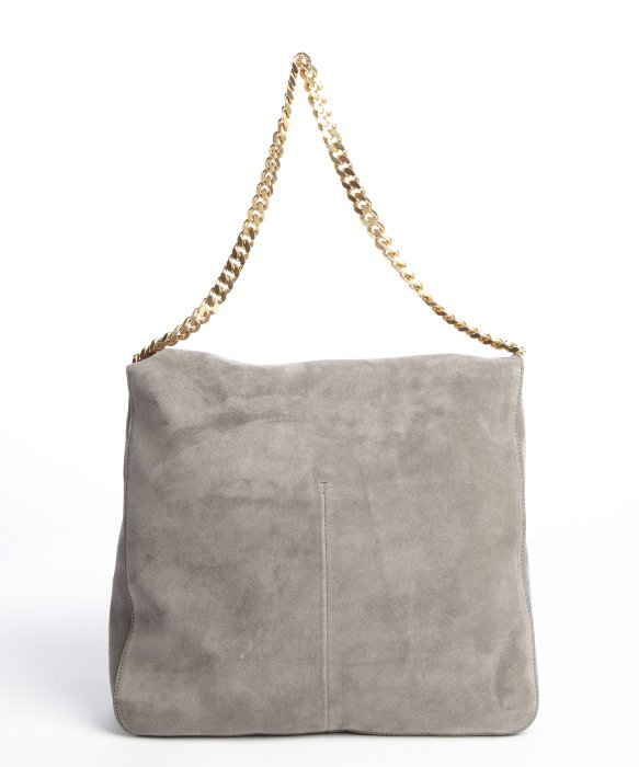 C¨¦line Grey Suede Gold Braided Chain Shoulder Bag in Gray (grey ...