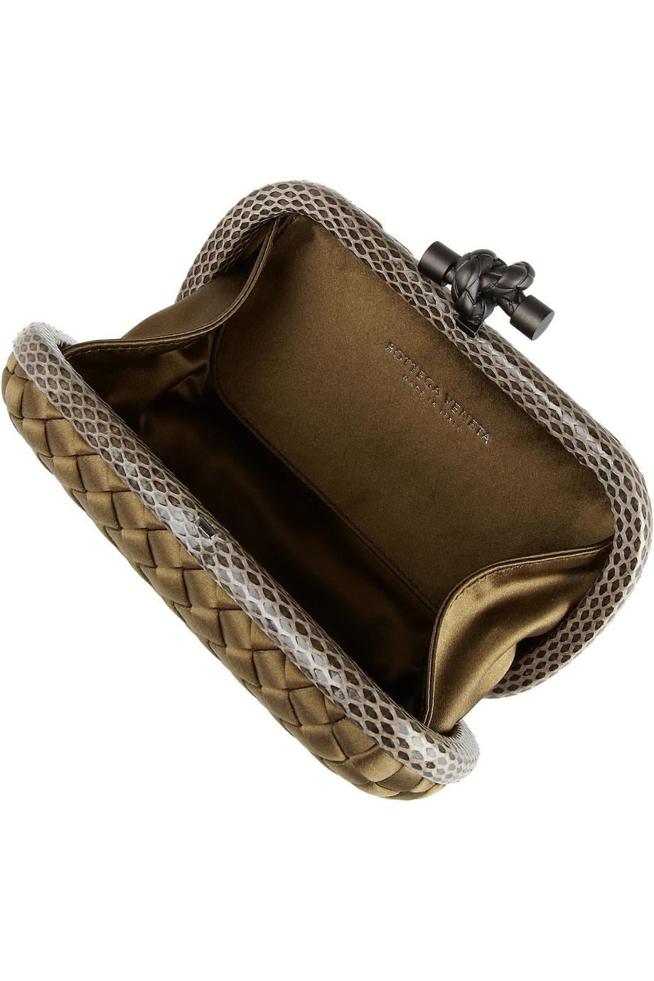 Bottega Veneta Knot Intrecciato Satin Clutch
