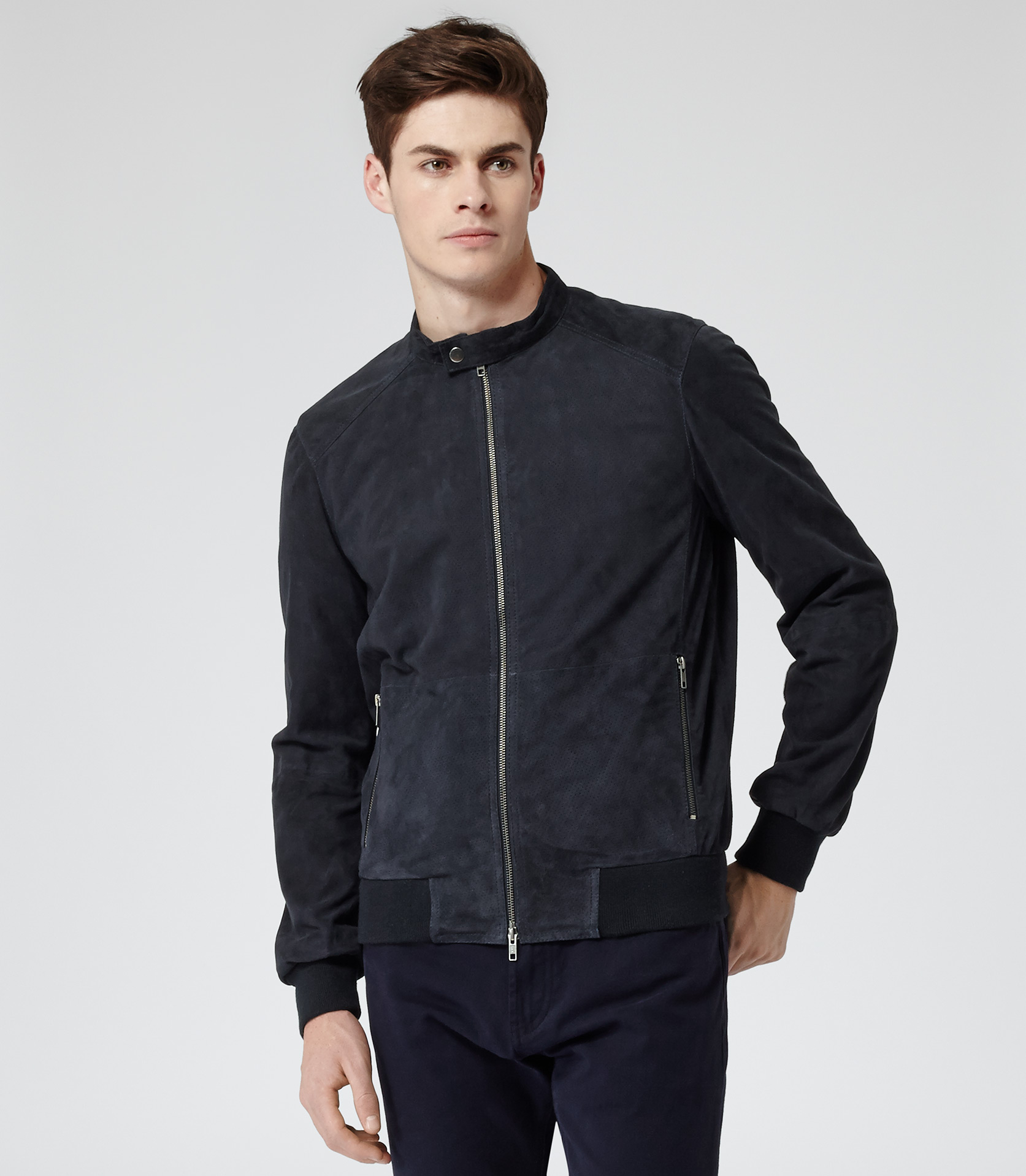 Reiss Cramont Perforated Leather Jacket in Blue for Men | Lyst