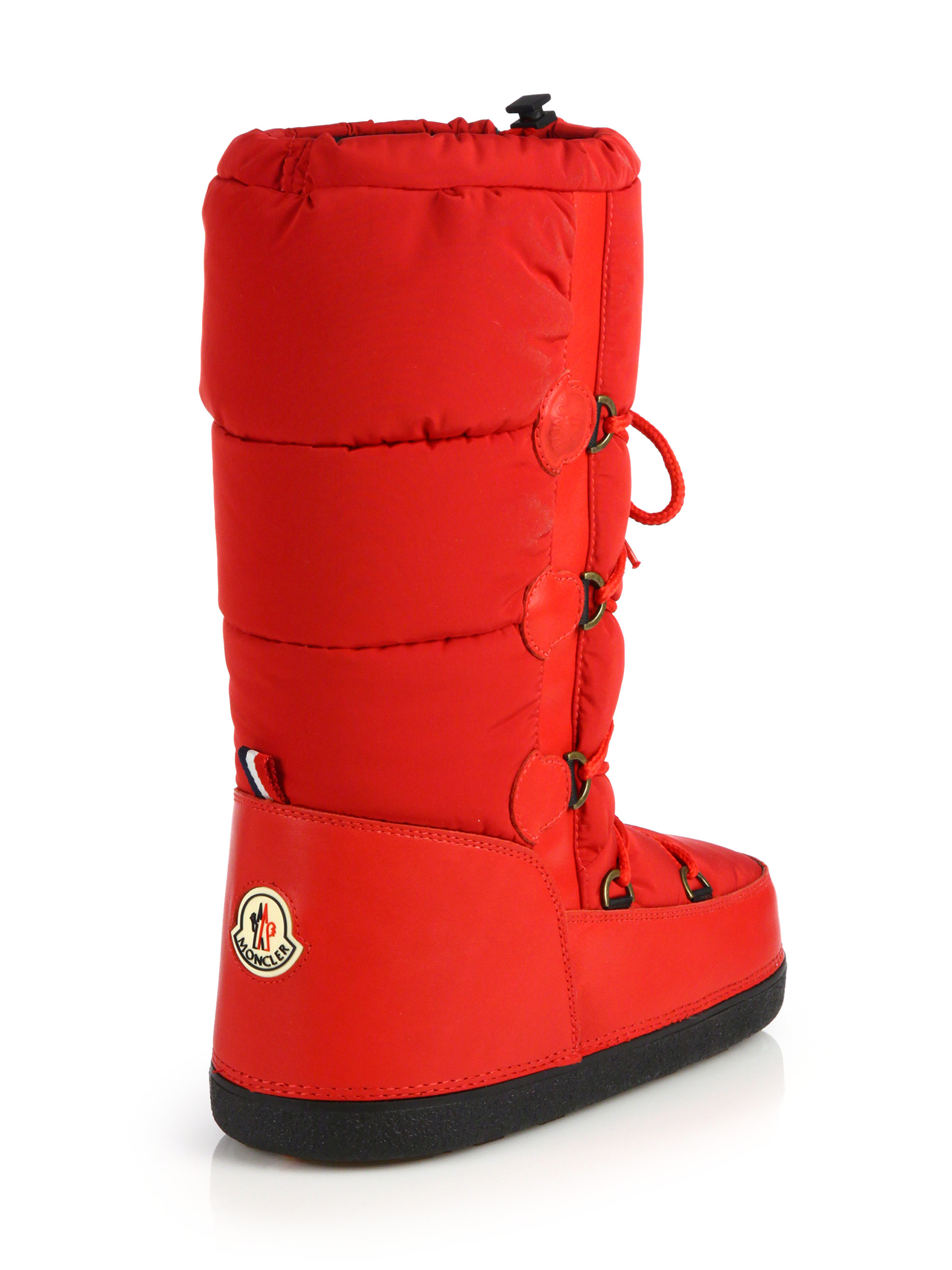 d67a61155 Moncler Quilted Lace-Up Moon Boots in Red - Lyst
