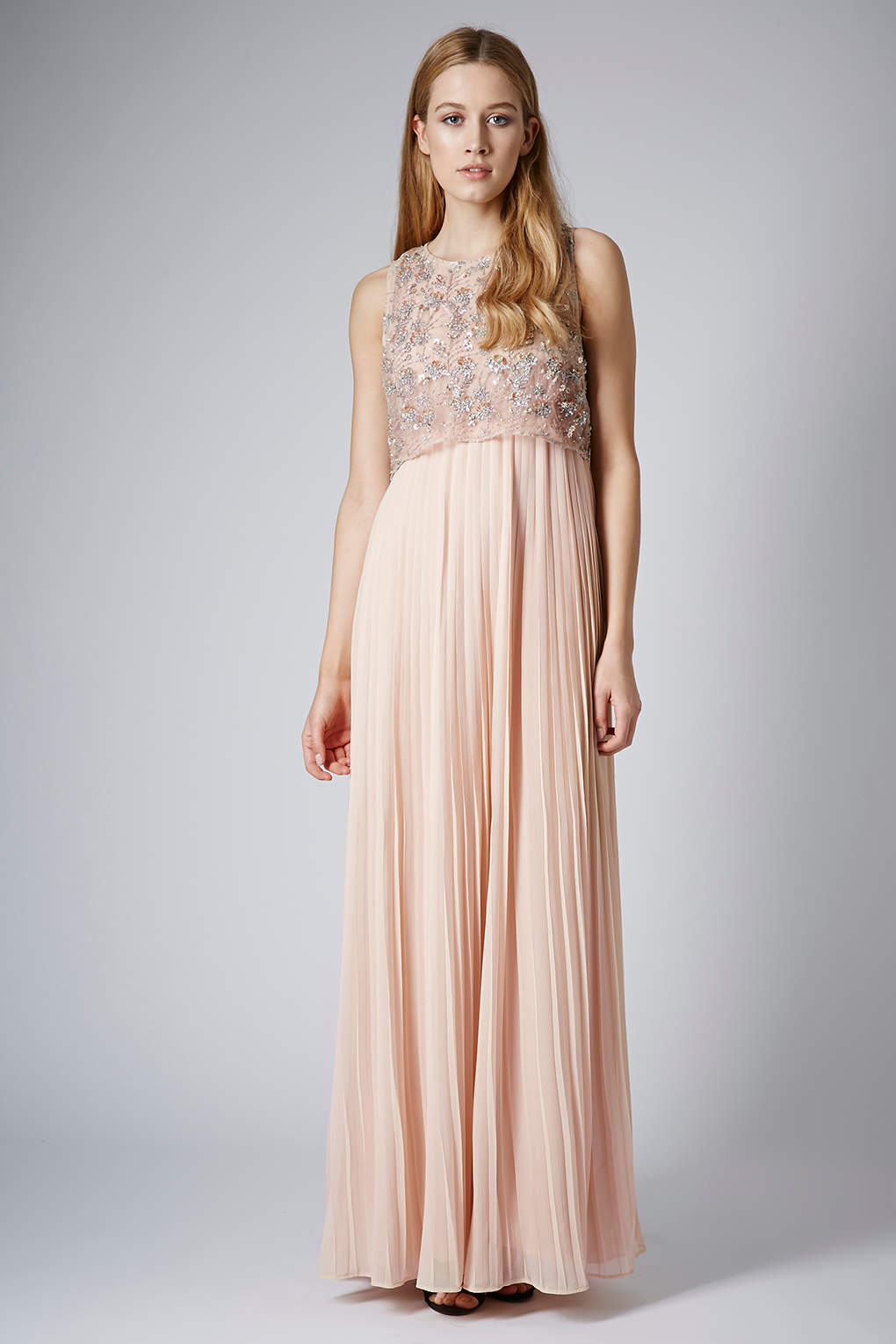 Topshop Limited Edition Pleated Embellished Maxi Dress in Pink  Lyst