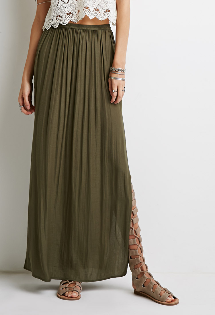Forever 21 High-Slit Maxi Skirt in Green | Lyst