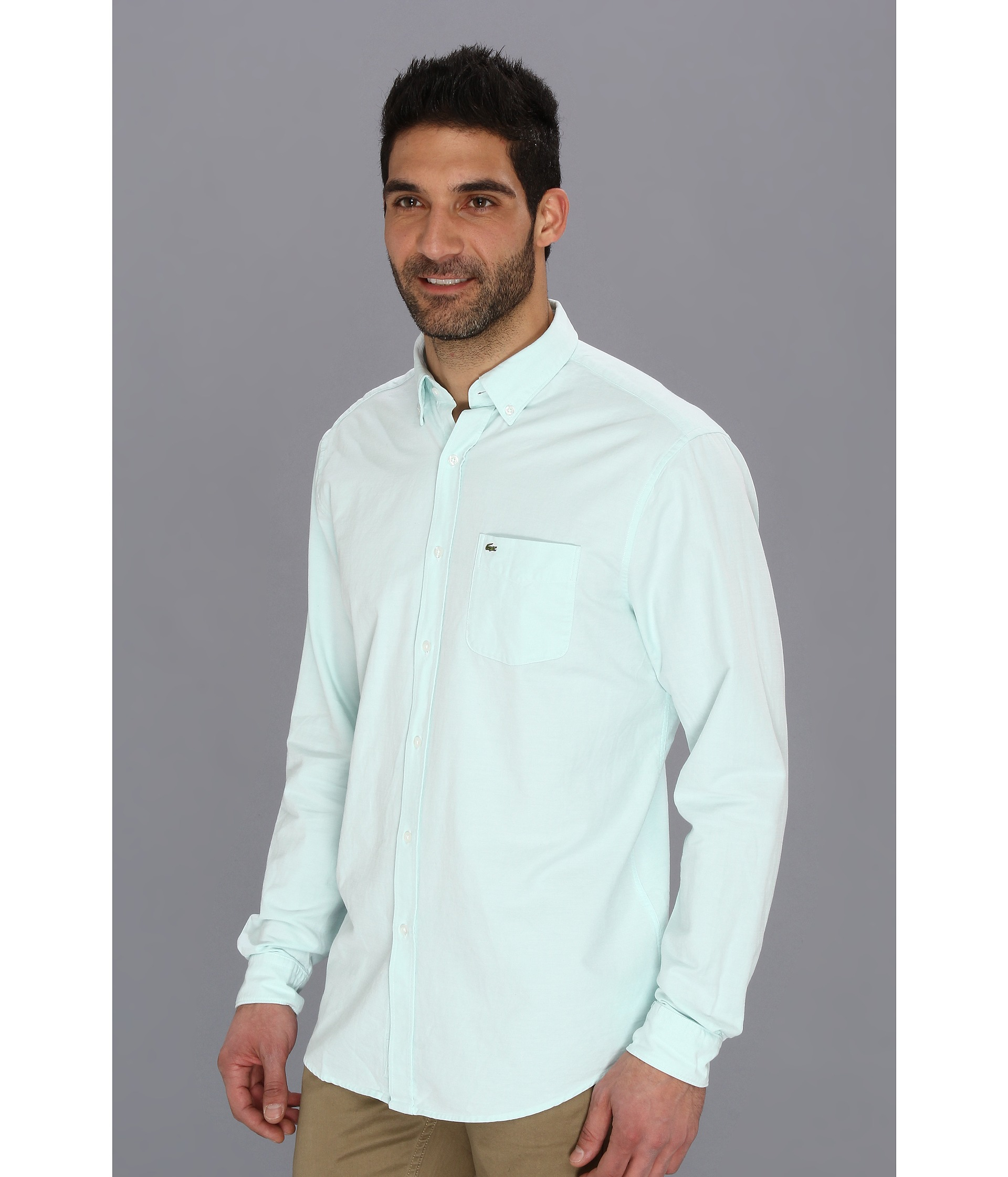 693c495a9 Lacoste Long Sleeve Washed Oxford Shirt With Button Down Collar ...