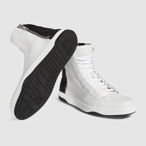 7b3aac62706 Lyst - Gucci Leather High-top Sneaker With Zippers in White for Men