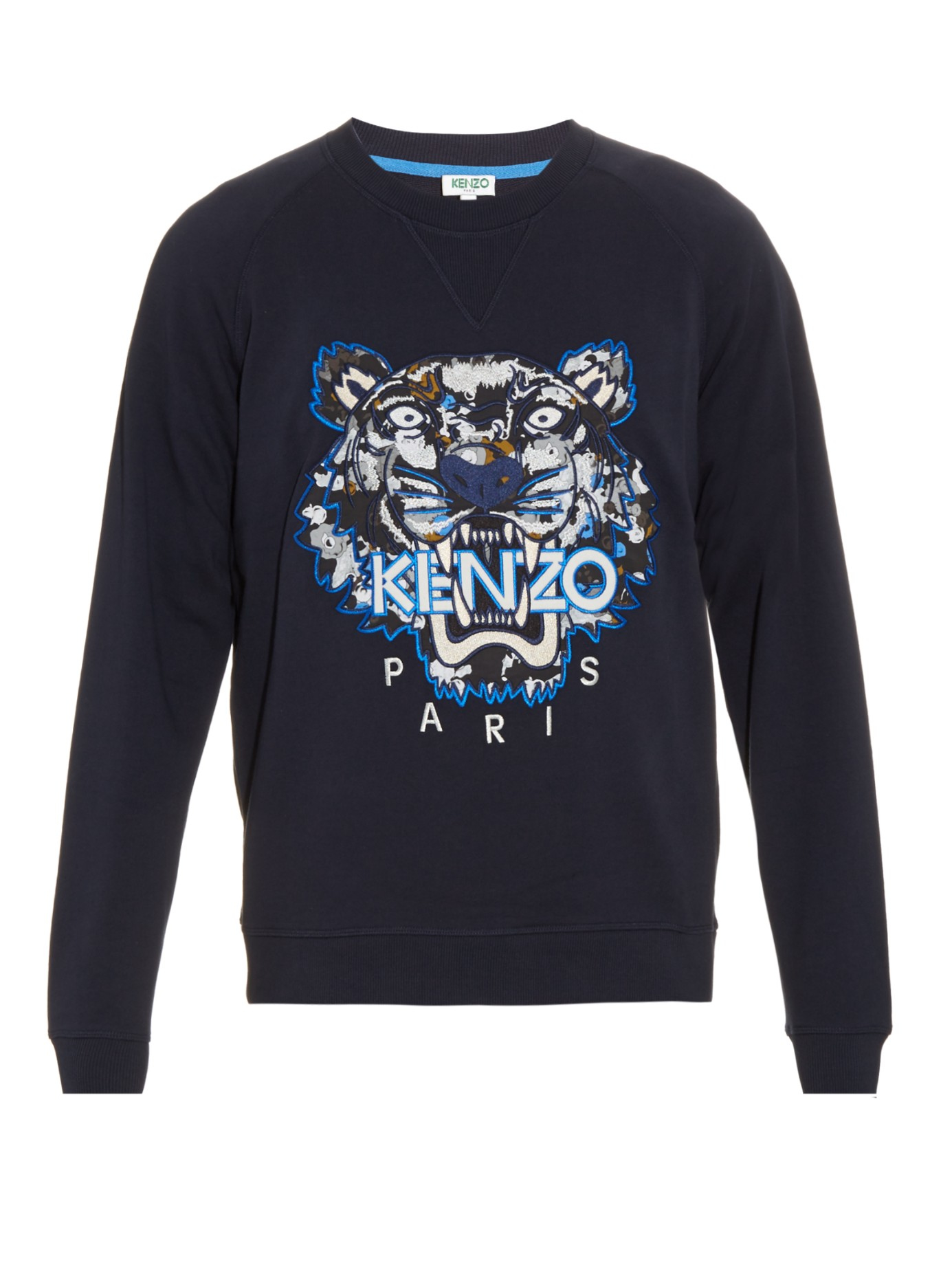 KENZO Tiger-head Embroidered Sweater in Blue for Men - Lyst 3fe740571
