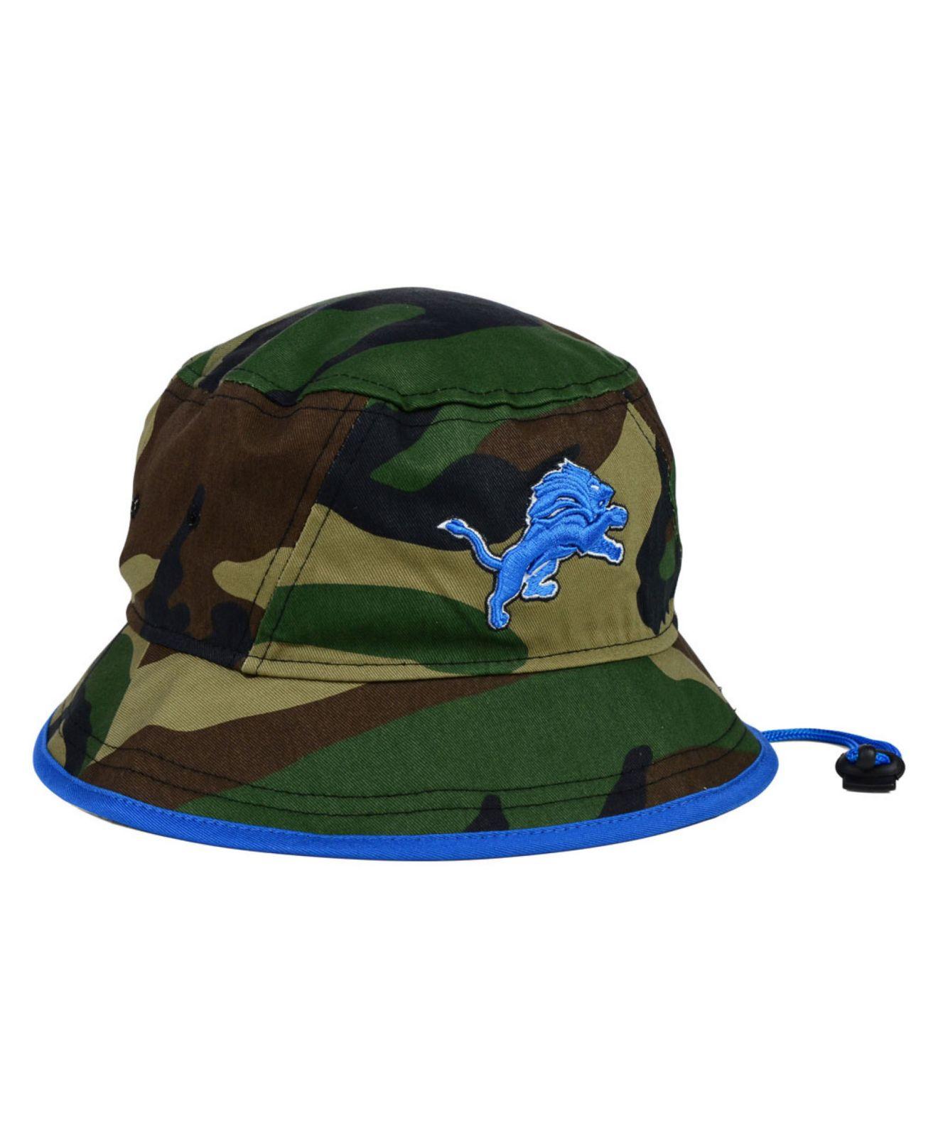 los angeles 7f96e c1d59 ... australia lyst ktz detroit lions camo pop bucket hat in green for men  c492e 0d935
