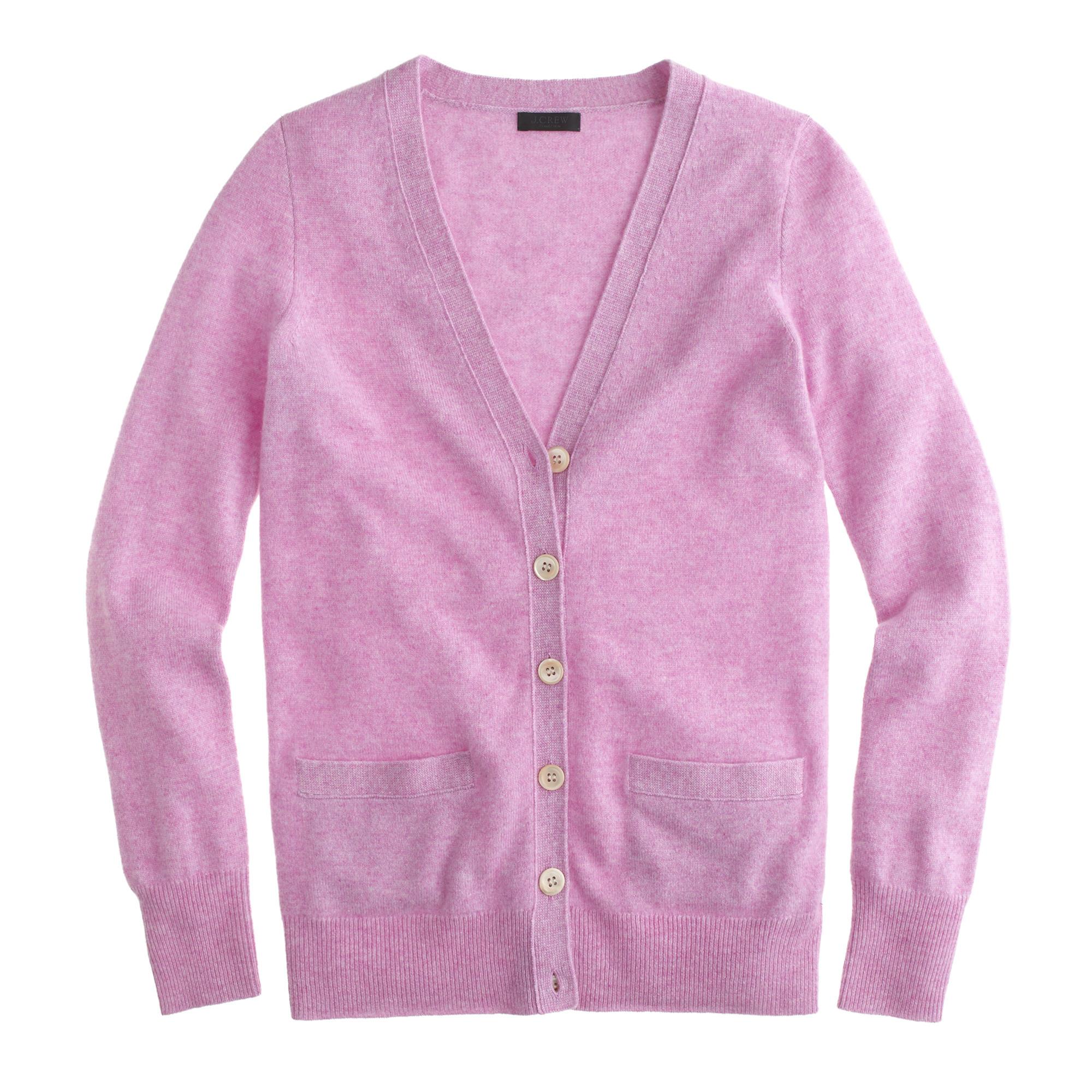J.crew Collection Cashmere Boyfriend Cardigan Sweater in Purple | Lyst