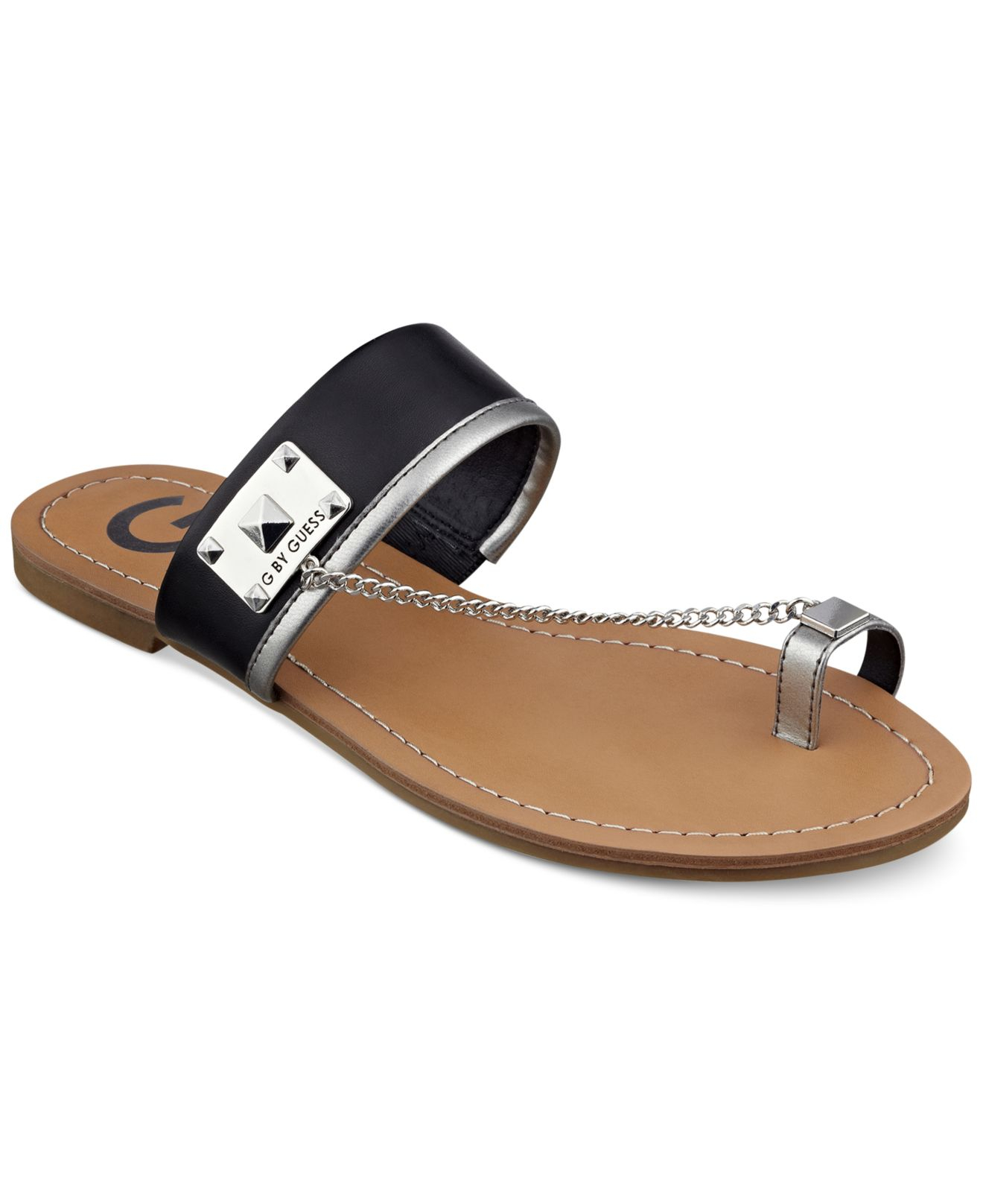 Women's Flat By Ring Sandals Toe Lucia Lyst G Guess In Black EIDH29
