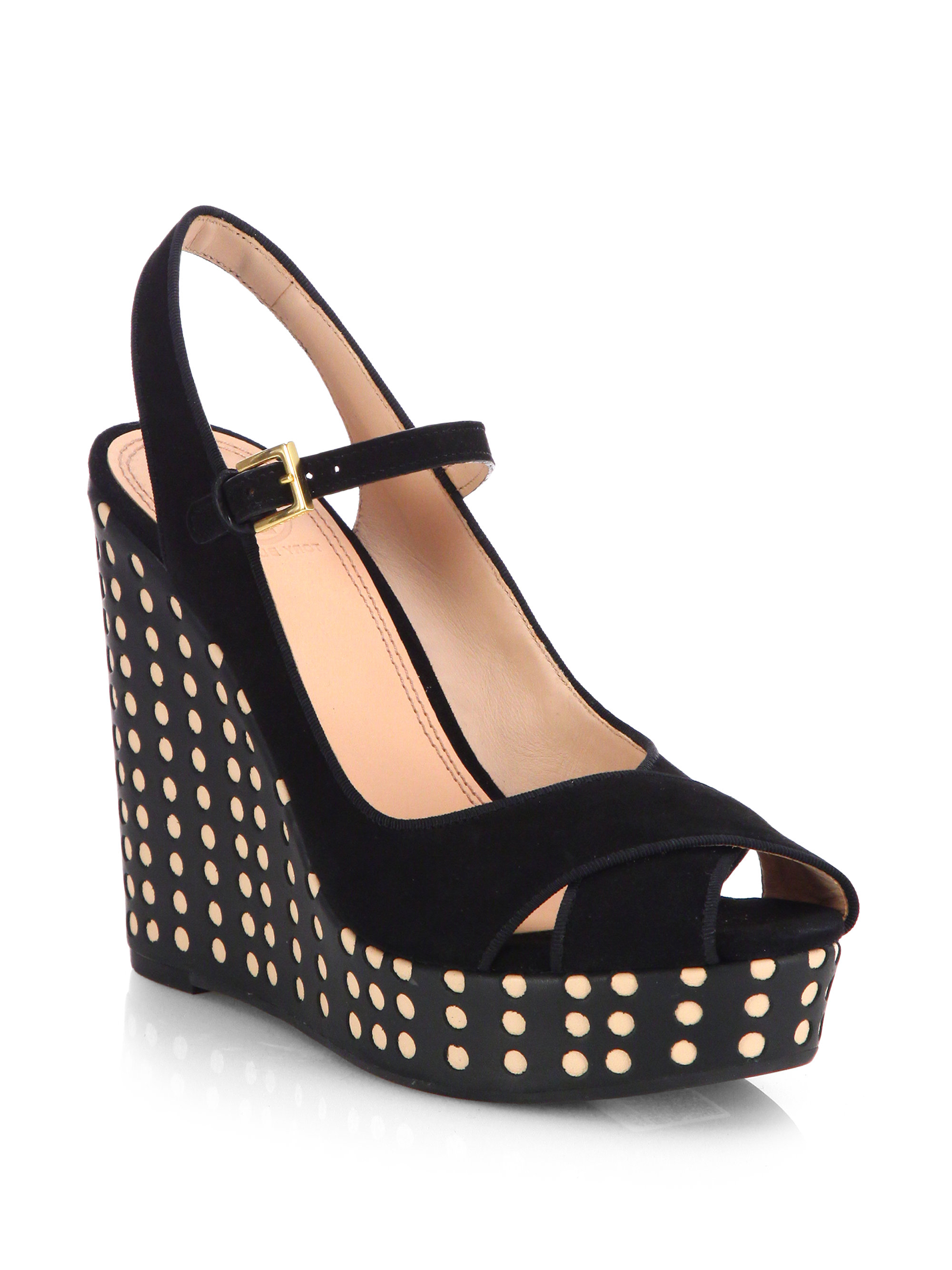 Tory Burch Ollie Suede Leather Polka Dot Wedge Sandals In