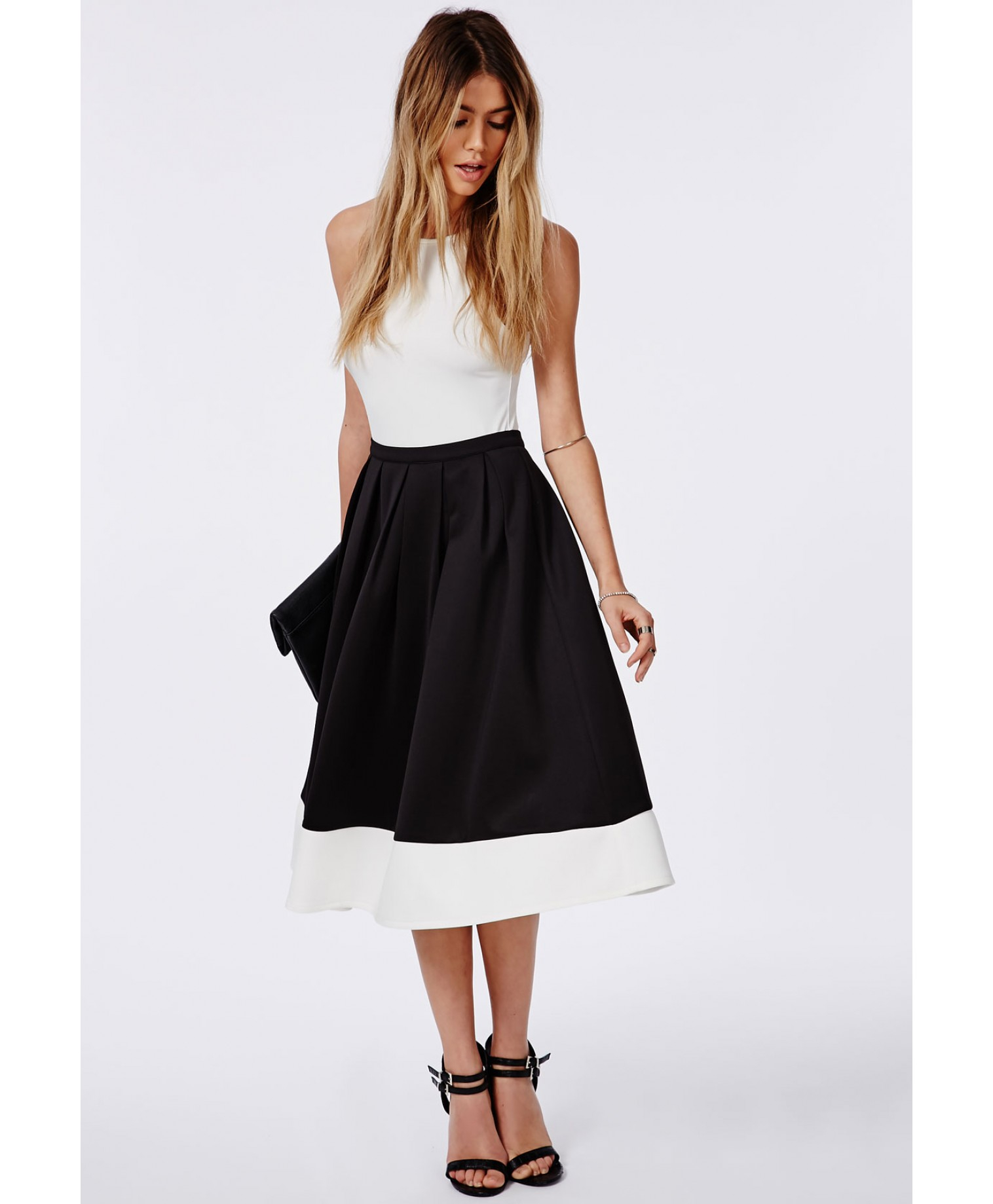diverse styles durable in use super cheap compares to Women's Contrast Panel Hem Scuba Midi Skater Skirt Black