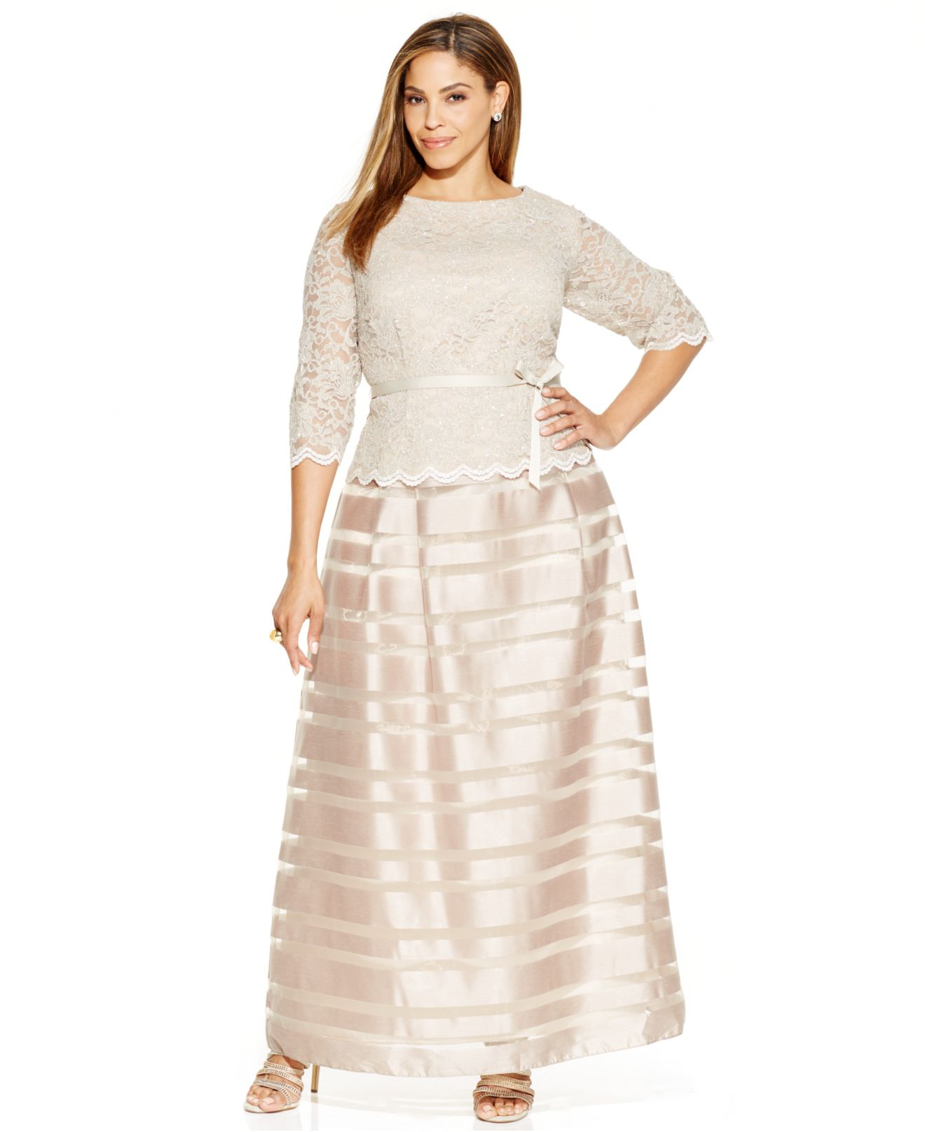 9f84a8f477e Alex Evenings Plus Size Lace-overlay A-line Gown in Metallic - Lyst