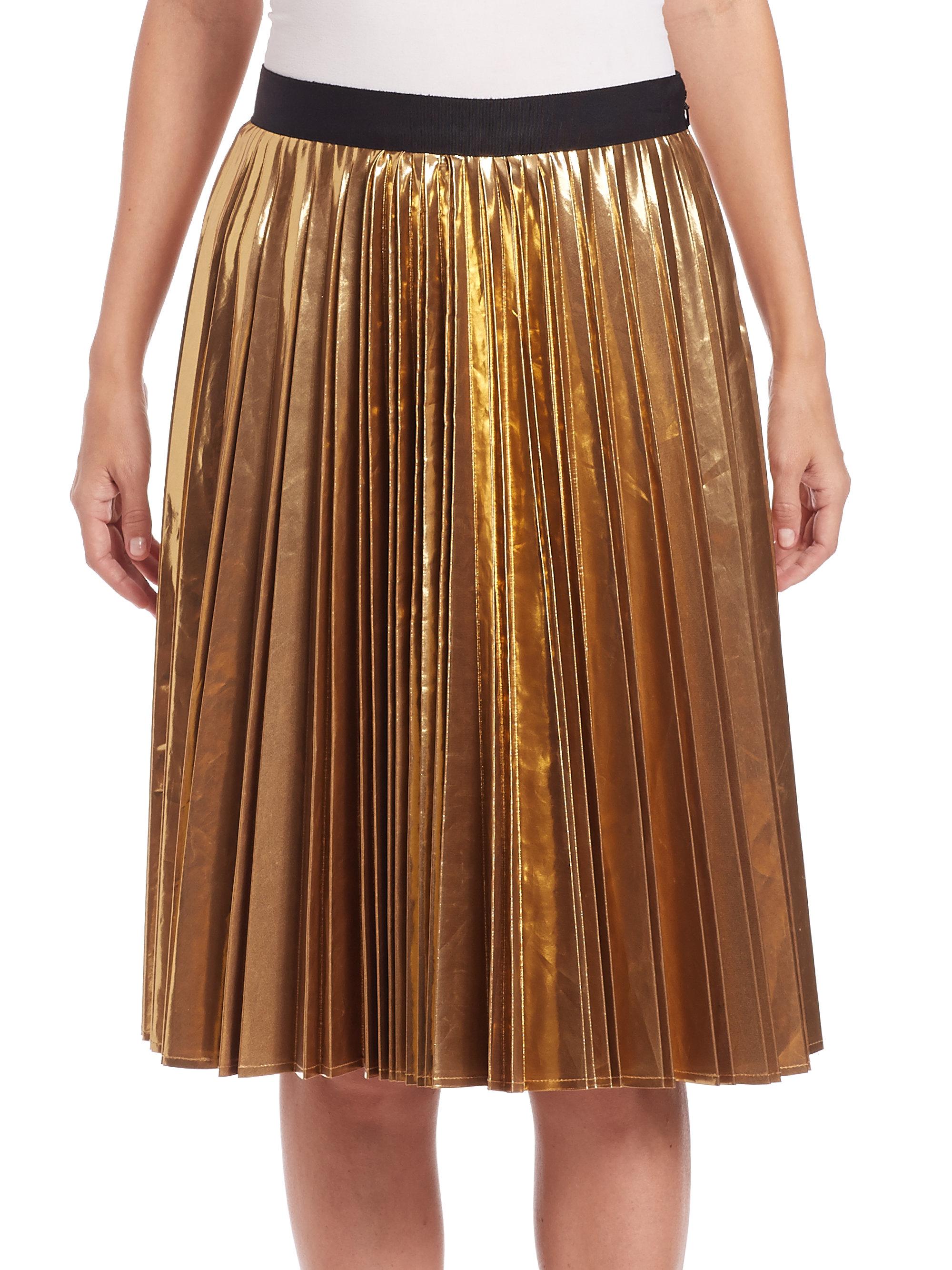 d4733fed75 DKNY Metallic Pleated Skirt in Metallic - Lyst
