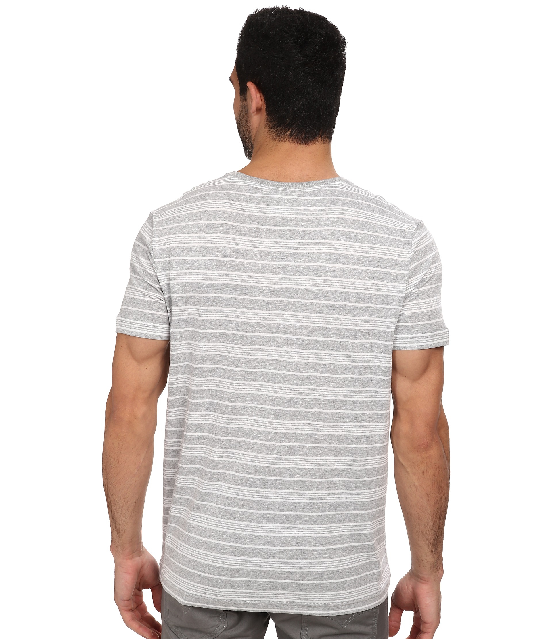 lyst lacoste jersey short sleeve v neck striped tee. Black Bedroom Furniture Sets. Home Design Ideas