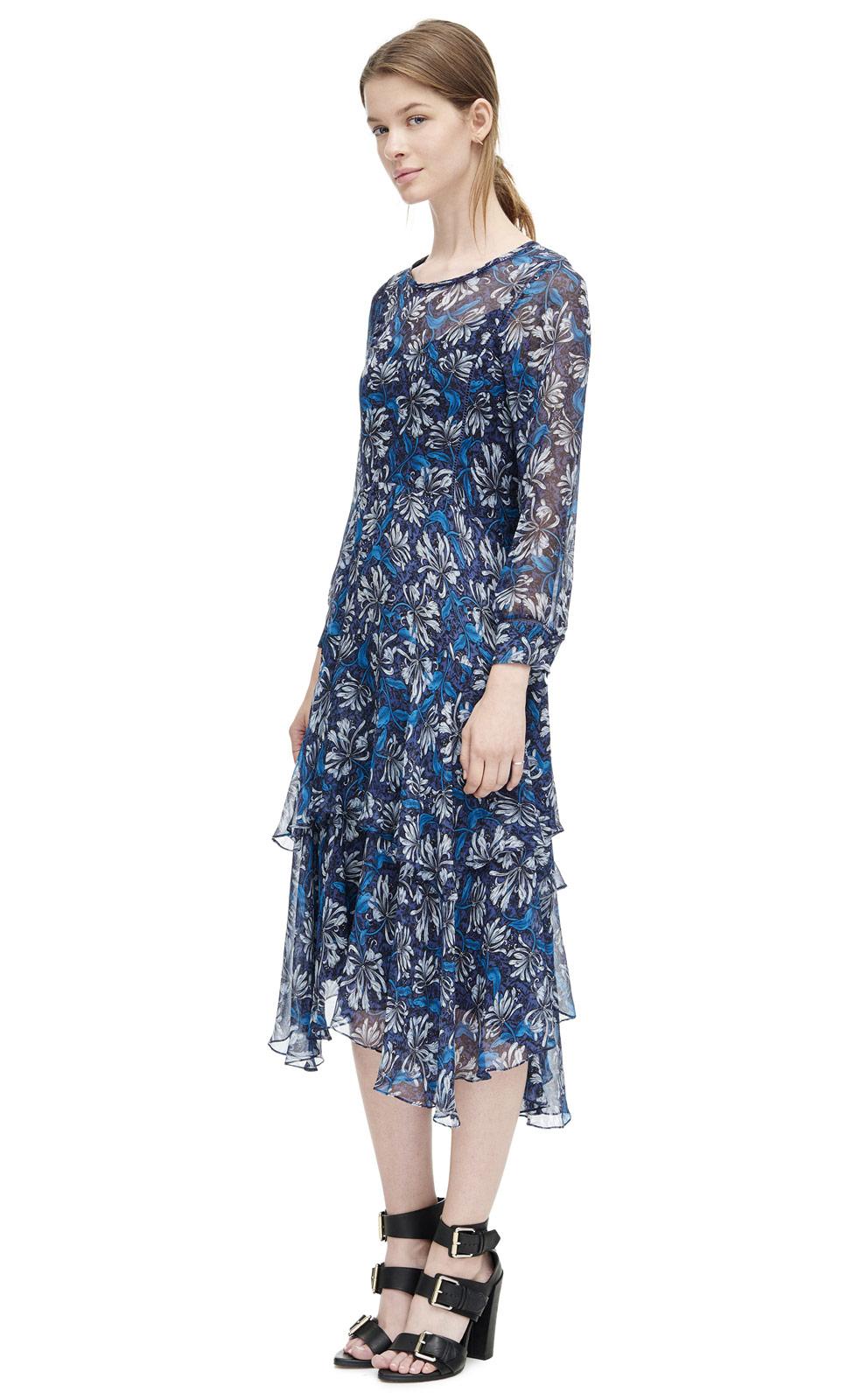 Rebecca taylor Long Sleeve Mystic Garden Chiffon Dress in Blue - Lyst