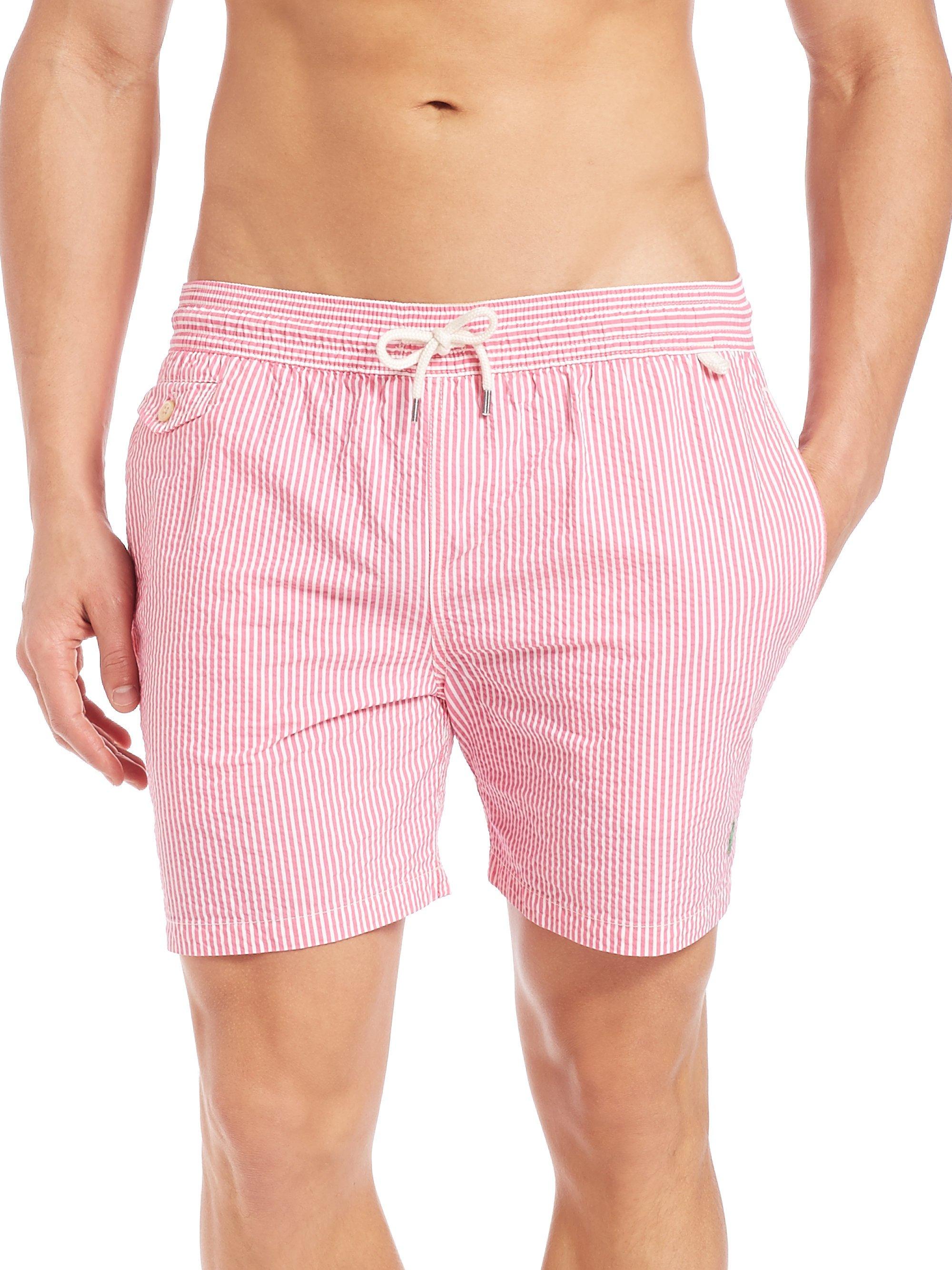 b0e6013548 Polo Ralph Lauren Seersucker Traveler Swim Shorts in Pink for Men - Lyst
