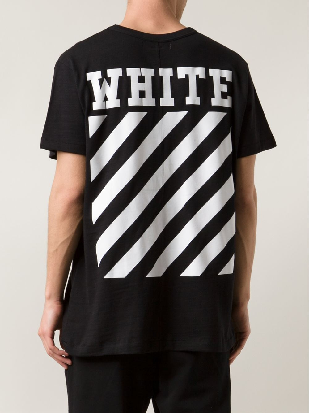 off white c o virgil abloh new caravaggio cotton t shirt in black for men lyst. Black Bedroom Furniture Sets. Home Design Ideas