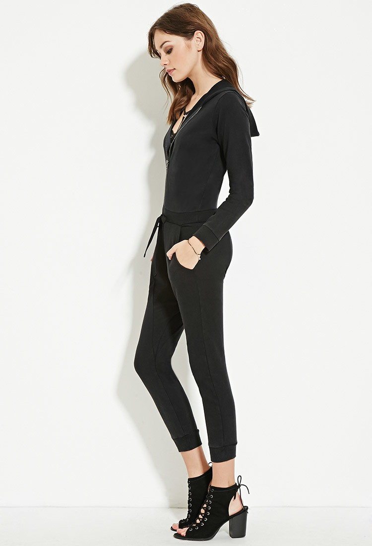 c23b4700a4f8 Lyst - Forever 21 Hooded Harem Jumpsuit in Black