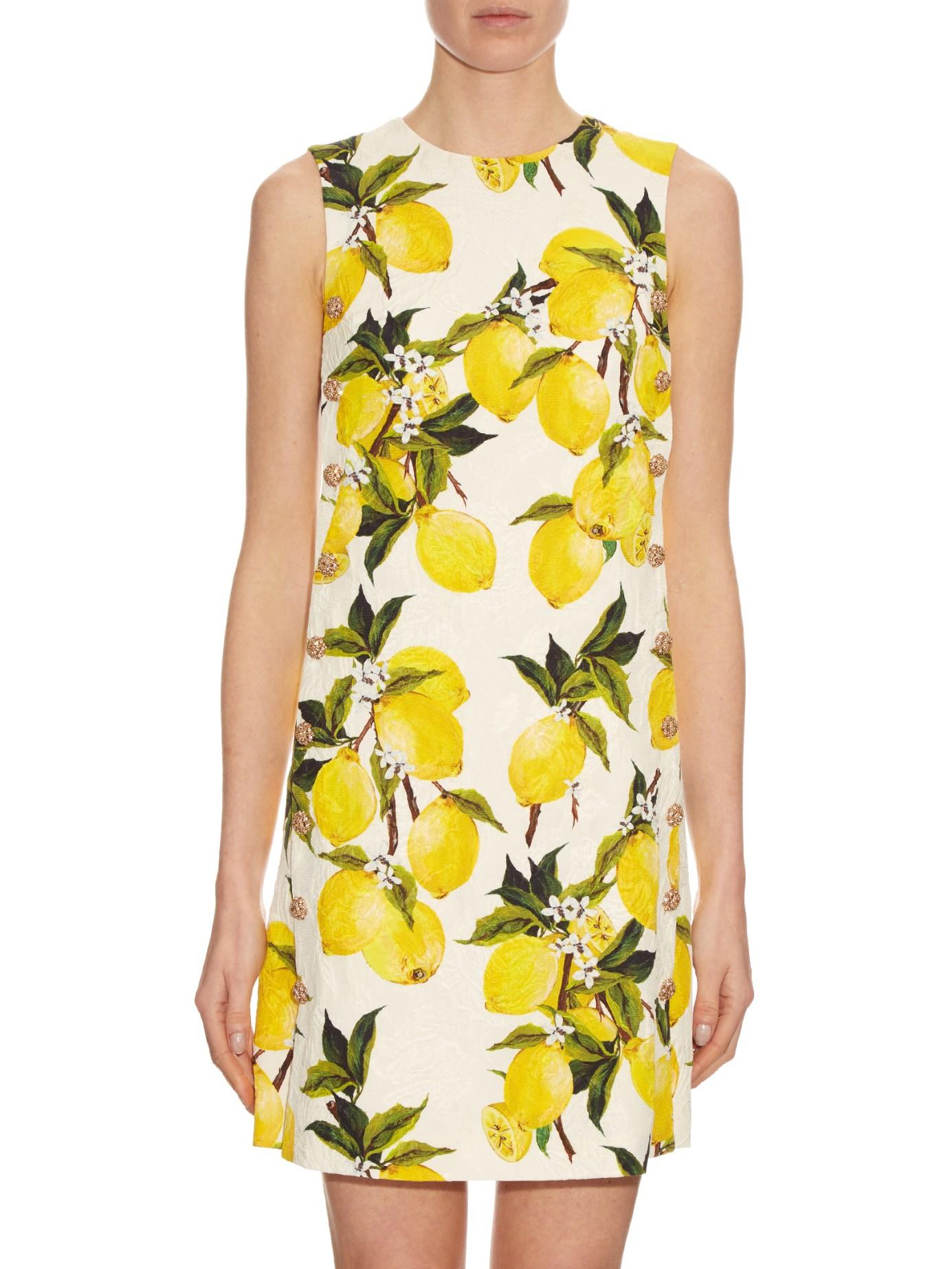 dc734f7239b Dolce   Gabbana Lemon-print Floral-brocade Embellished Dress in ...