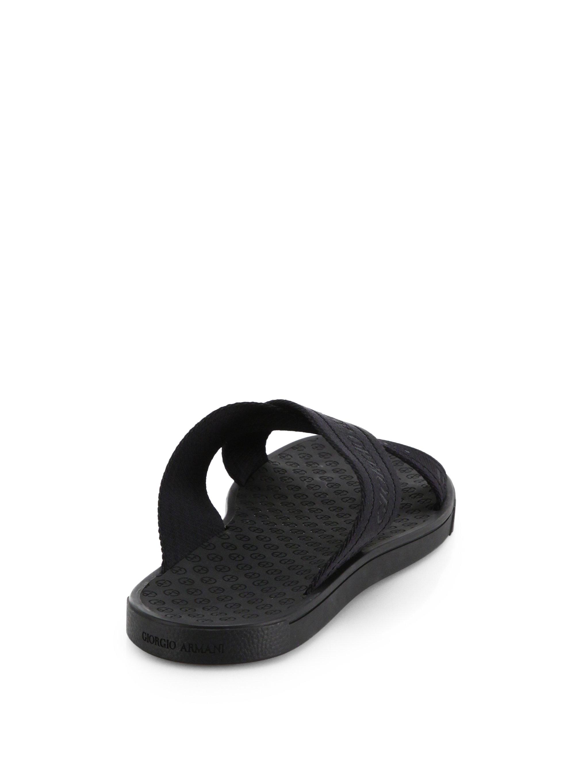 Giorgio Armani Rubber Criss Cross Sandals In Black For Men