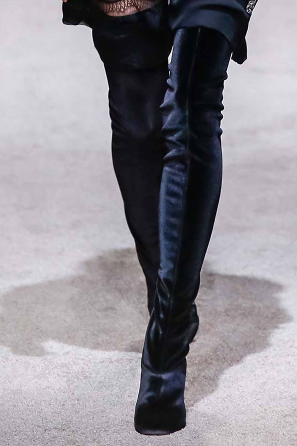 alberta ferretti grey black suede thigh high boots in gray