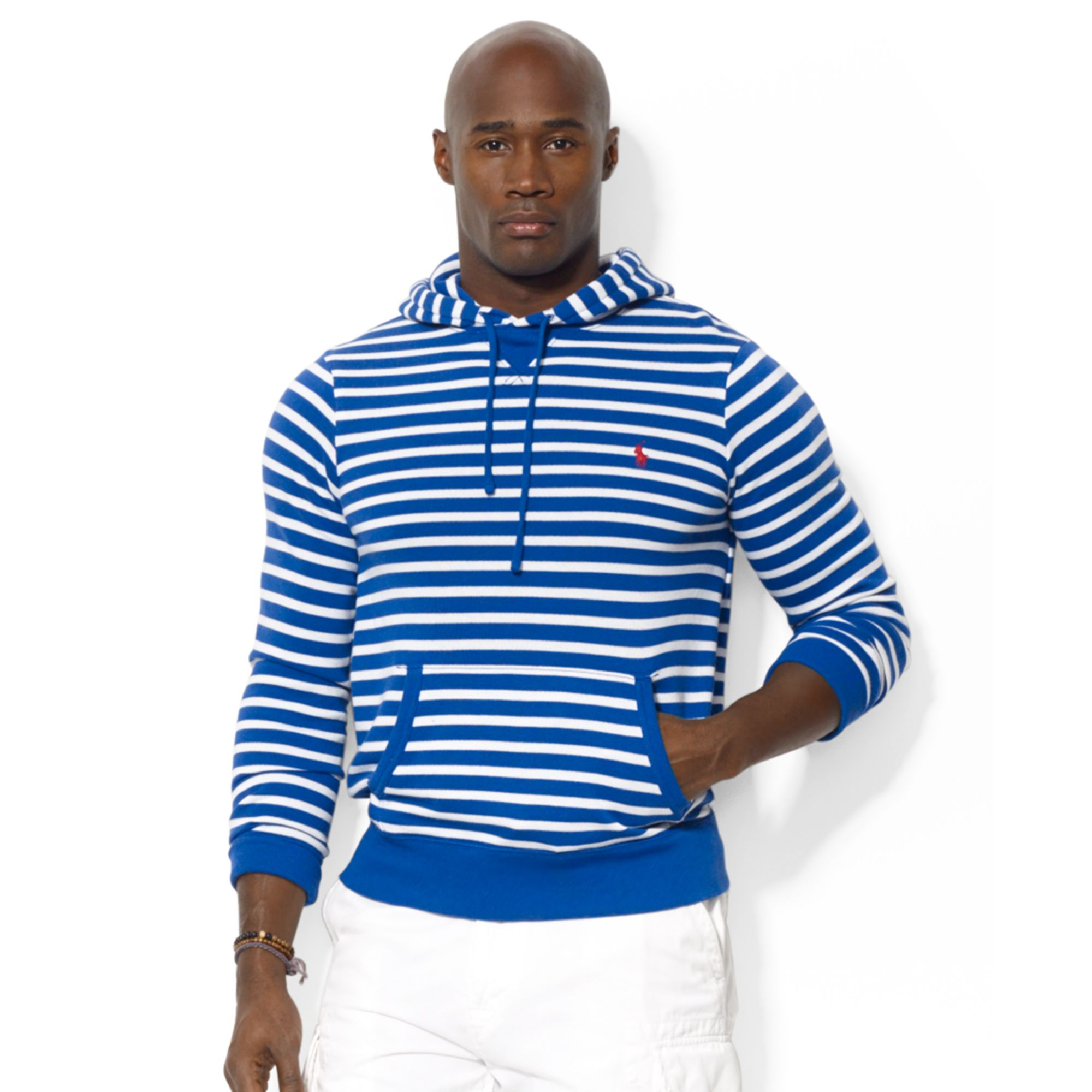 Polo Ralph Lauren Striped Waffleknit Cotton Hoodie in Black for Men