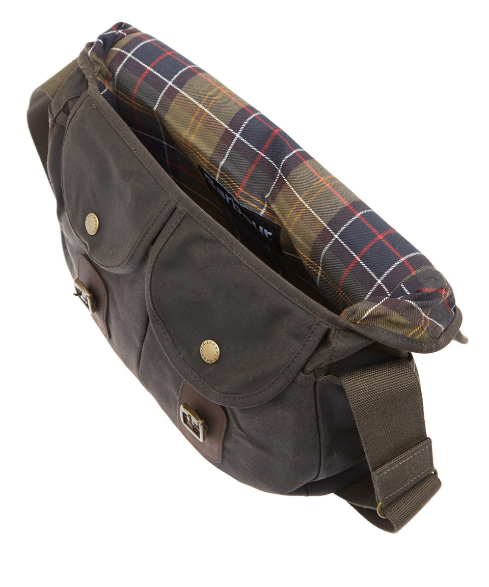 Lyst Barbour Olive Tarras Wax Leather Bag In Green For Men
