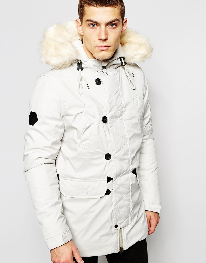 Faux fur white parka