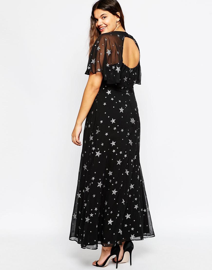 Asos Curve Glitter Star Flutter Sleeve Maxi Dress   Lyst