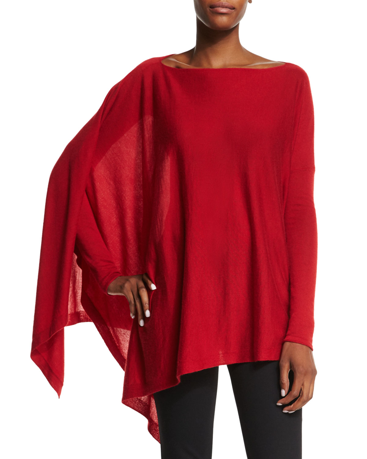 donna karan asymmetric cashmere poncho top in red lyst. Black Bedroom Furniture Sets. Home Design Ideas