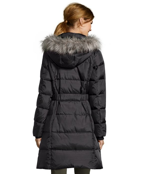 Dkny Black Box Quilted Belted And Hooded Down Jacket in Black | Lyst