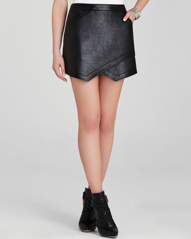 Bcbgmaxazria Skirt - Owen Faux Leather Asymmetric in Black | Lyst