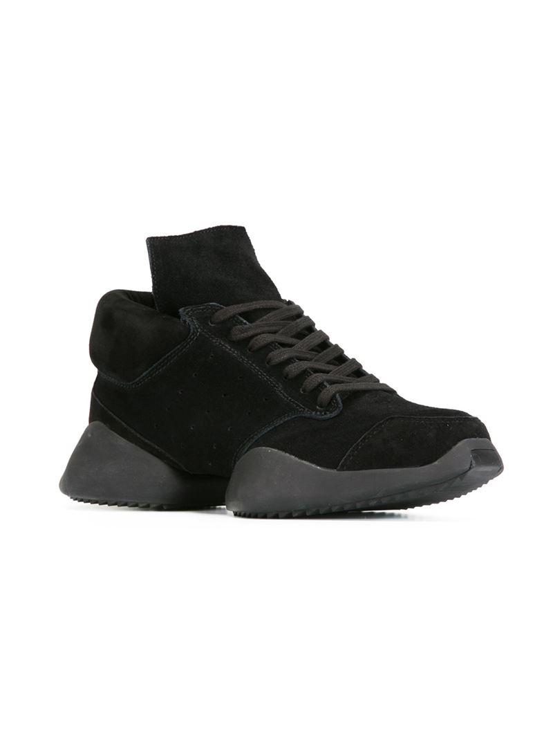 lyst rick owens x adidas 39 tech runner 39 sneakers in black. Black Bedroom Furniture Sets. Home Design Ideas