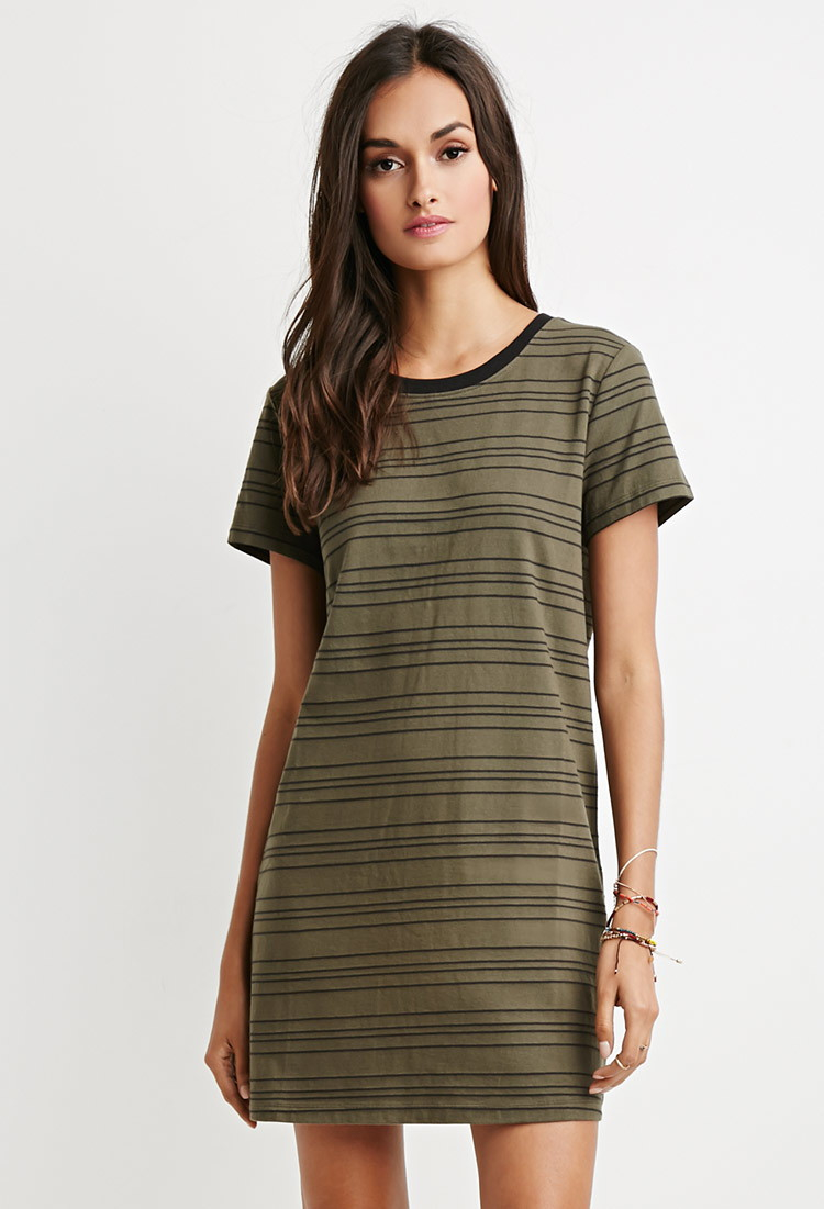 Forever 21 Cutout Back Striped T Shirt Dress In Green Lyst