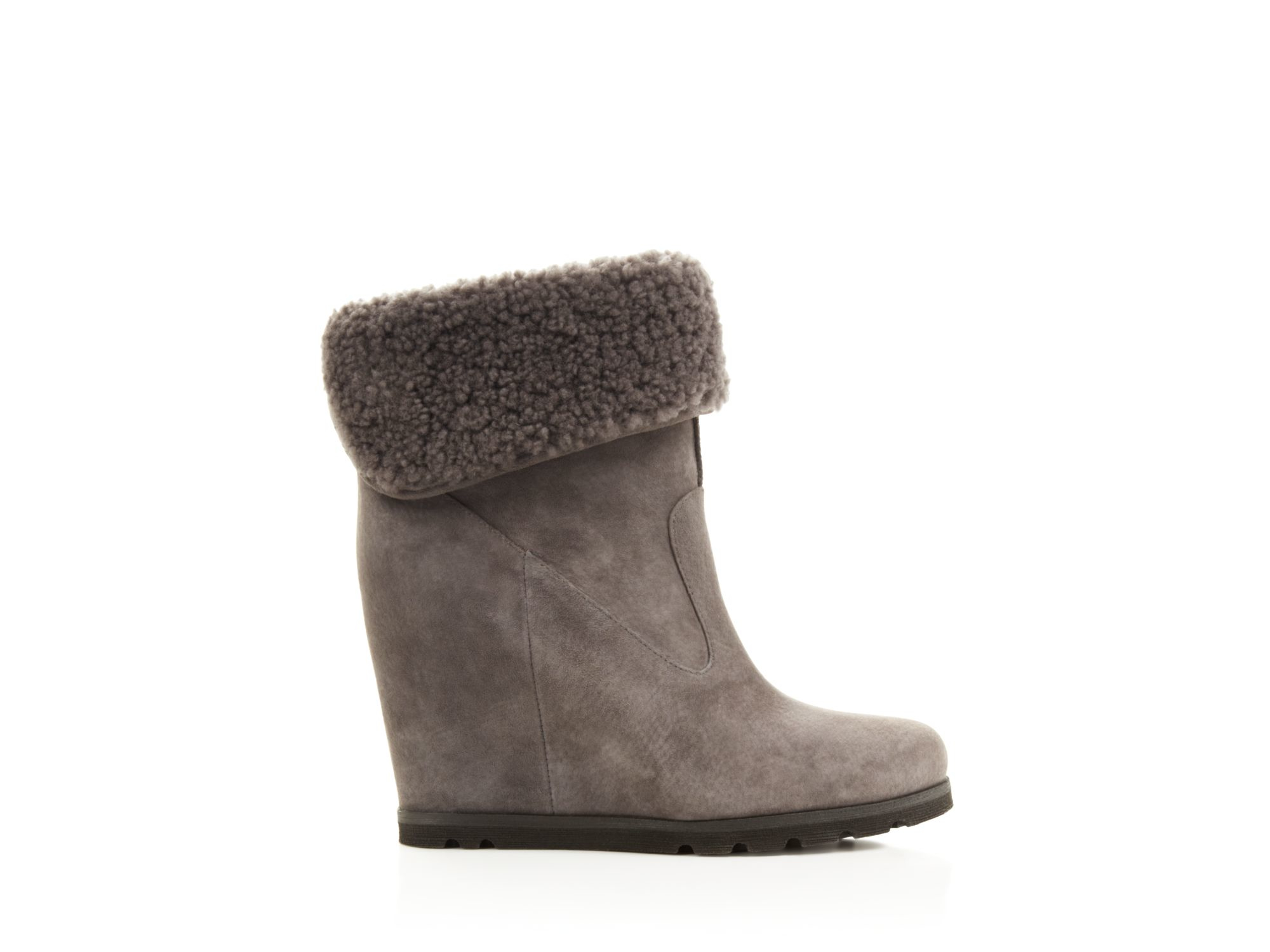 Lyst Ugg Ugg 174 Australia Kyra Shearling Wedge Booties In Gray